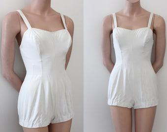 vintage 1950s swimsuit // 50s Jantzen white bathing suit