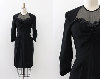 vintage 1930s dress // 30s black crepe dress with black sequins