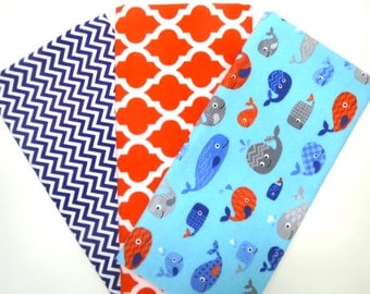 3 Pack Bundle of Cotton Flannel Fat Quarters in Fun Whales, Red Trellis and Navy Blue Tiny Chevron Prints