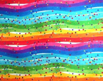 Flannel Fabric by the Yard in a Bright Rainbow Color Wave and Tiny Dot Print 1 Yard