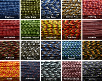100 feet / 30m, 550 Camouflage Paracord 7 Strand Type III in Spool, Huge Selection, Hiking, Survival, Camping, Mil Spec, Outdoor Activities