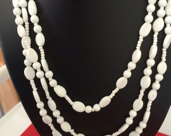 Versatile 58 inch Long White Vintage Glass Bead Necklace