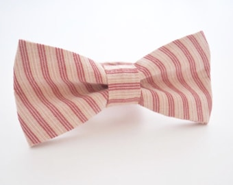 Mens Bowtie in Dusty Rose and Mauve Stripe Linen, Dusty Pink Bow Tie, Wedding Bow Tie, Groomsmen Bow Ties, Adjustable Bow Tie