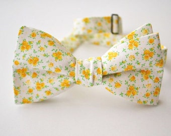 Freestyle Bow Tie- Yellow Floral Fabric