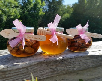 Edible Christmas Gift, Raw Honey & Nuts, Unique Gift Ideas, CUSTOM Engraved Spoons and Dipper, 3 jars