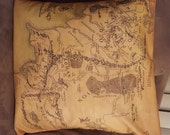 Pair of Lord of the Rings Map of Middle Earth decorative pillow cases