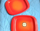 Vintage Flambe Enamel over Steel.  2 Plates.  Orange Flame.  Mid century modern, Eames era.  1960s.