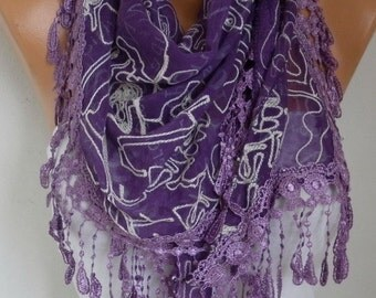 Purple Embroidered Scarf,Fall Winter Accessories, Cotton, Cowl Scarf, Gift Ideas For Her, Women Fashion Accessories Scarves,Christmas
