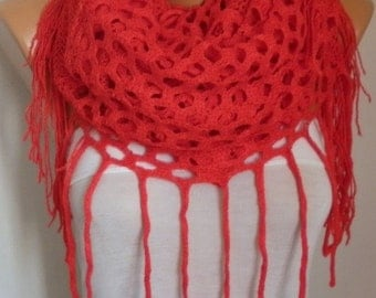 Valentine's Day Gift Red Knitted Infinity Scarf,Fall Winter Scarf,Fringe Tube,Circle Loop Scarf Women's Fashion Accessories,birthday gift