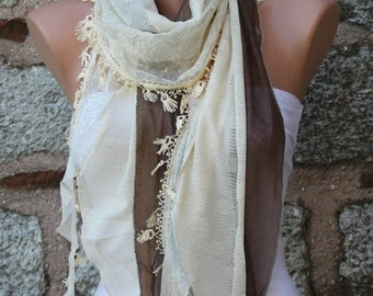 Brown&Yellow Scarf Shawl Scarf Cowl Scarf Bridesmaid Gift Bridal Accessories Gift Ideas For Her Women Fashion Accessories