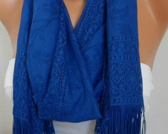 Royal Blue Tulle Scarf,Fall, Christmas Hanukkah Gift, Cowl Bridesmaid Bridal Accessories Gift Ideas for Her Women Fashion Accessories