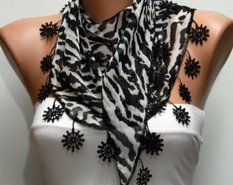 Zebra Print  Scarf  Mother's Day Gift Shawl Chiffon Cowl Scarf Anchor Gift Ideas For Her Women Fashion Accessories