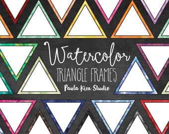 Watercolor Triangle Frame Clipart, Bright Border Commercial Use Clip Art, Commercial Use
