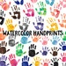 Watercolor Handprint Clip Art Instant Digital Download, Commercial Use Illustration