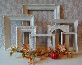 Vintage Picture Frames, Shabby Antique Frames, Frame set, Frame grouping, Cottage Chic, Bedroom, Nursery, Painted frames, Wall gallery