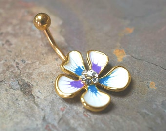 Hibiscus Flower Belly Button Ring Rings