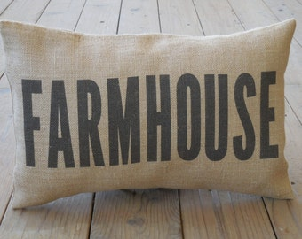 FARMHOUSE burlap Pillow | Farmhouse Pillows | French Country | INSERT INCLUDED