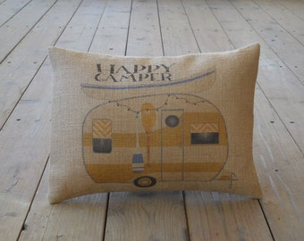 Happy Camper Burlap Pillow, Camping, Gifts for Campers, Retirement Gift, INSERT INCLUDED