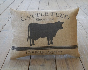 Cattle Feed Burlap Pillow, Farmhouse Pillows, Shabby Chic, Cow, INSERT INCLUDED