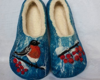 "Felted wool slippers boots ""Bullfinch"""