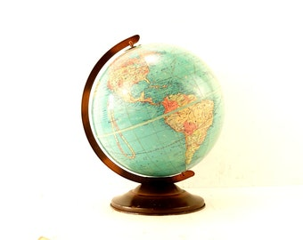 "Vintage Replogle Standard World Globe with Metal Stand, 12"" diameter (c.1949) - Collectible School Globe"