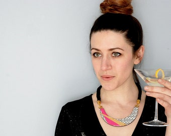 Bib Necklace, Pink and Gold Statement necklace