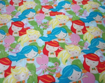 Mermaids  Fabric Colorful Cotton New By The Fat Quarter