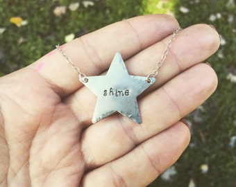"""Hand-stamped """"shine"""" star necklace"""