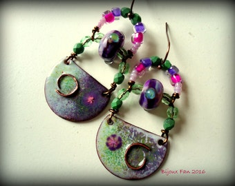 Boho, Tribal, Artisan Earrings, Enameled Earrings, Purple Green, Beaded Earrings, Bohemian Chic