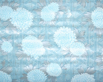 Retro Wallpaper by the Yard 70s Vintage Mylar Wallpaper - 1970s Blue Flowers and Bamboo Lattice Metallic Silver