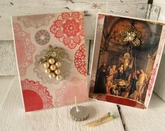 Small prayer box Christian shrine Mary Christ Child meditation upcycled embellished