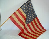 Early Sixties School Classroom American Flag on Original Wooden Pole with Gold Enamel Finial & 50 Stars - Natural Aged Fabric USA Old Glory
