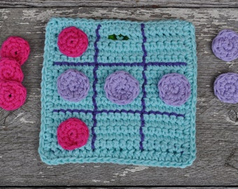 Crocheted Quiet Travel Tic Tac Toe Game