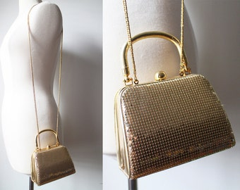 Vintage Whiting & Davis Gold Tone Chainmail Chain Strap Shoulder Purse