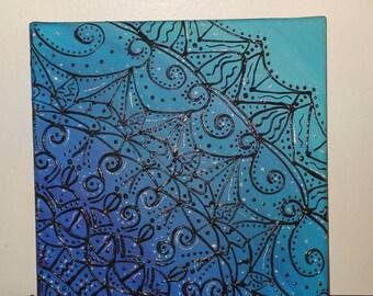 Mandala Acrylic Painting. Blue, turquoise,black