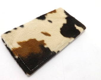 Faux cow hide bill fold, checkbook cover wallet, SW southwest western