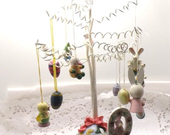 Small Easter Tree with 10 miniature wooden ornaments bunny rabbits and eggs
