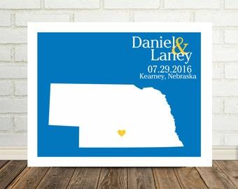 Nebraska Map Custom Wedding Gift Personalized Couple Art Nebraska Poster Nebraska Print Holiday Gift Under 20 Valentines Day Gift