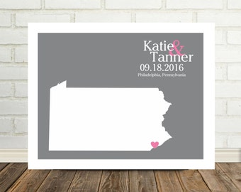 Personalized Wedding Gifts State Map FRAMED ART Wedding Map