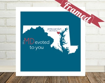 MARYLAND Map Print Valentines Day Gift  FRAMED Art State of Love Maryland Wedding Gift Personalized Engagement Gift Valentines Day