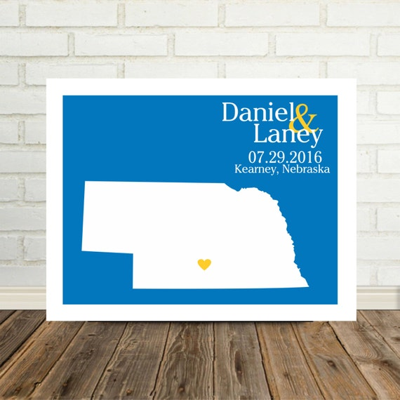 Nebraska Map Custom Wedding Gift Personalized Couple Art Nebraska ...