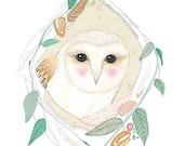 Barn Owl Print, Bird Art, Archival Print of Owl Painting, Watercolour Gouache