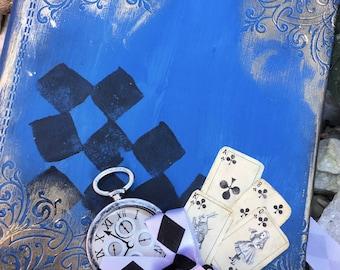 Alice in wonderland fairytale wedding sign in guest book