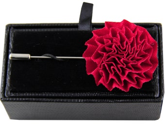 Men's lapel pin brooch chest hot pink flower for Formal Occasions