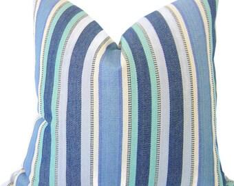 Blue Striped Pillows - Decorative Pillow Cover - Lumbar Pillows - SEAGLASS BLUES - Stripe Pillow - Blue Pillows - Nautical Striped Pillows