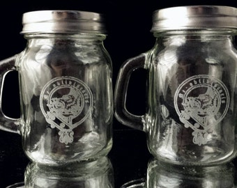 Clan crest etsy Salt n pepper pots
