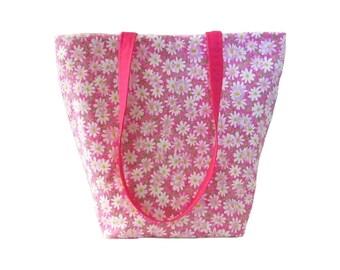 Pink Tote Bag, Floral Purse, Handmade Handbag, Daisy Flowers, Cloth Purse, Fabric Bag, White Daisies, Shoulder Bag