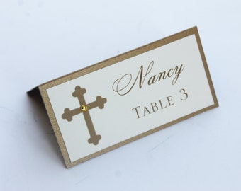 Classy Cross Gold  Baptism-Communion Place Cards