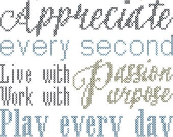 Modern Cross Stitch Pattern Typography Rules of Life Sign