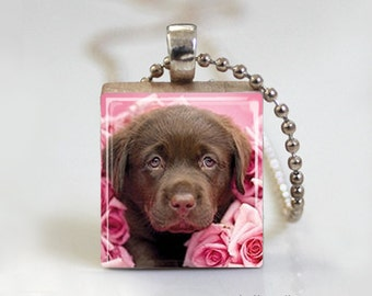 Brown Chocolate Lab Puppy Dog - Scrabble Tile Pendant - Free Ball Chain Necklace or Key Ring